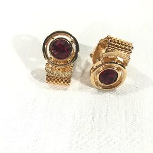 Vintage Round Gold Tone Cuff Links